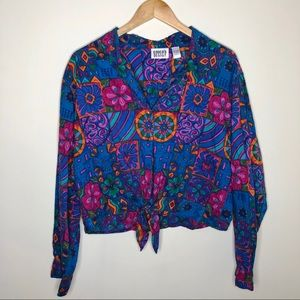 90's Tie-Front Button Down Patterned Shirt